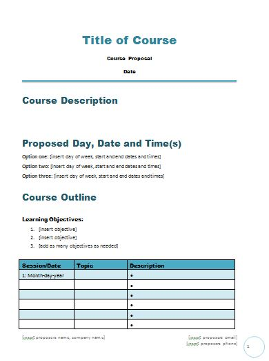 Free Course Proposal Template  Career Minded